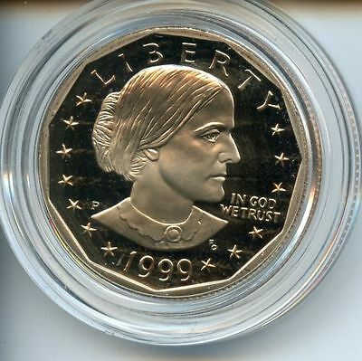 1999-P Proof Susan B. Anthony Dollar Nice Coin in Original Capsule w/ Box & COA