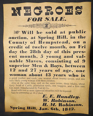 Slave Auction Poster, 1842 repro, slavery, sale, wanted