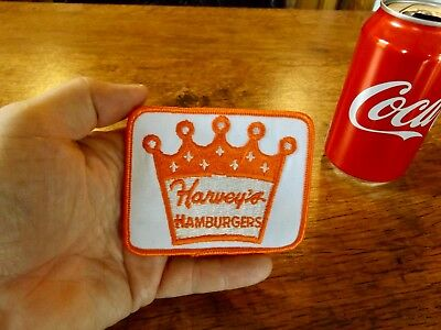 Vintage HARVEY'S HAMBURGERS restaurant chain uniform Patch retro KOOL !!!!