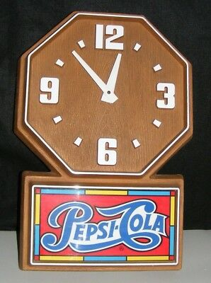 PEPSI-COLA SIGN & Clock BATTERY- OP VTG WORKING 1970's PLASTIC AUTHENTIC!