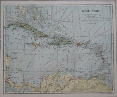 Original 1921 Mail Steamer Route Map WEST INDIES Submarine Telegraph Lines Cuba