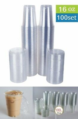 Disposable Plastic Cups w/ Flat Lids 100 Sets 16 oz Crystal Clear for Party NEW