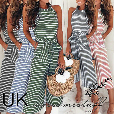 UK Womens Striped Wide Leg Jumpsuit Ladies Evening Party Playsuit Size 6 - 16