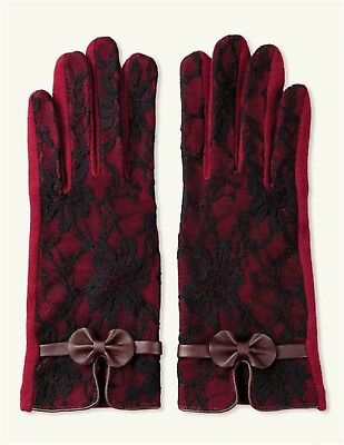 Victorian Trading Co Burgundy Bordeaux Lace Cashmere Texting Gloves S/M