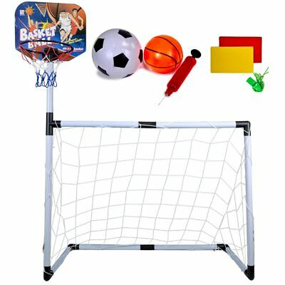 Small Indoor Outdoor Football Basketball Net Goal Post Kids Childrens Sport Game