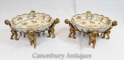 Pair French Porcelain Dishes Ormolu Cherub Planters