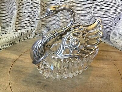 Antique large swan salt cellar cut glass with sterling top marked A&SW-Germany