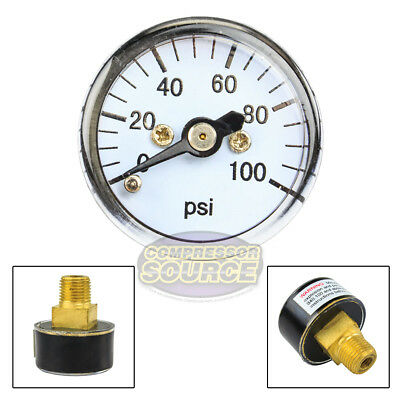 "1/8"" MNPT Mini Micro Air Pressure Gauge 0-100 PSI 1"" Face CBM Center Back Mount"