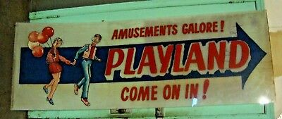 """VINTAGE CONEY ISLAND NY ARCADE HAND PAINTED SIGN ON PLEXI GLASS 29 1/2"""" x 84"""""""