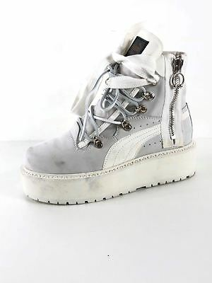 huge selection of bb400 9a1dc 119 Fenty Puma by Rihanna White Leather Platform Sneaker Boot Women Size 7 M