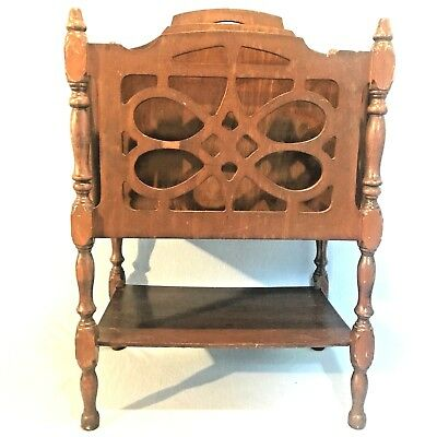 Antique Vtg Wood Mahogany Magazine Book Record Rack Table Stand Holder Art Deco