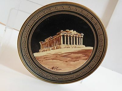 "SS205 ANCIENT GREEK DESIGN reproduction REDWARE WALL PLATE, 6 1/4"" Temple design"