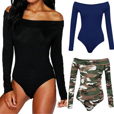 US Womens Bodycon Bodysuit Off Shoulder Long Sleeve Jumpsuit Romper Leotard Tops