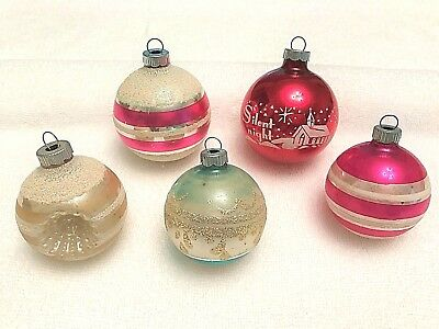 Lot of 5 Vintage Shiny Brite Glass Ornaments Indent Stencil Silent Night Mica
