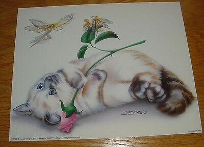 Sue Dawe Small Wonder Himalyian Cat kitten fairies Faery Art Print