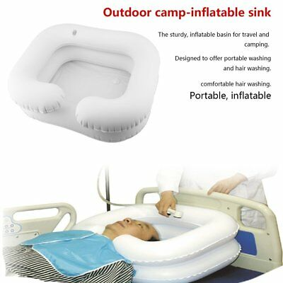 White Inflatable Portable Basin Sink Wash Hair in Bed at Camping Travel indoor E