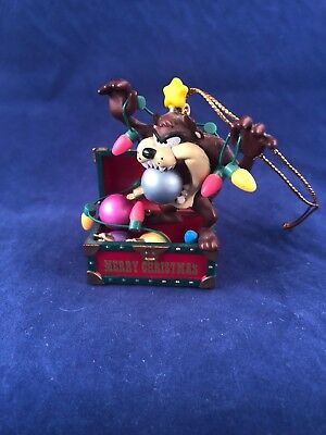 1996 Looney Tunes Taz Tasmanian Devil Collectible Christmas Ornament Lights Ball