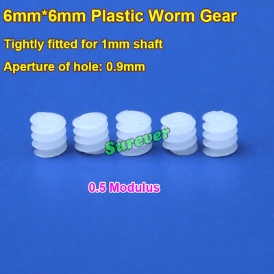 6mm Plastic Worm Gear Screw Deceleration Gear Turbine 0.5 Modulus For 1mm Shaft