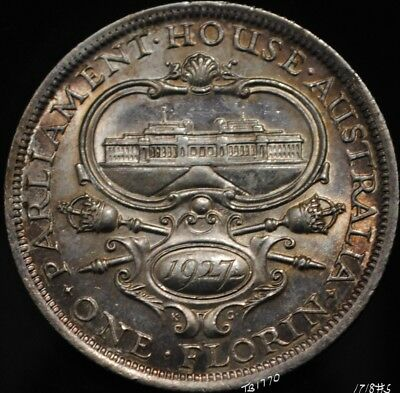 1927 George V Australian Parliament House Commemorative Florin .925 Silver. #1