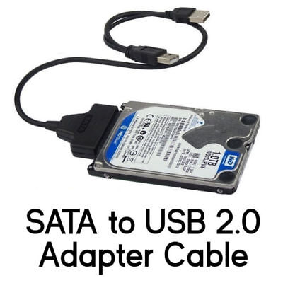 "SATA to USB 2.0 Adapter Cable for 2.5"" Hard Drive HDD Laptop Data Recovery PC OZ"