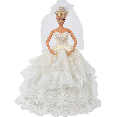 Handmade White Princess Wedding Dress Gown With Veil For 29cm Doll. New.  Prof