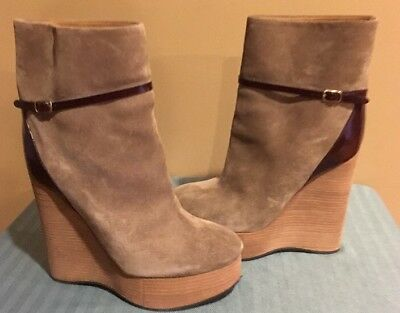 CHLOE TAUPE SUEDE Wedge Ankle Boots Sz 36.5 $995 $450.00