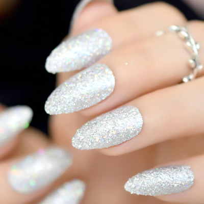7cc8ae89773 STILETTO  HOLOGRAPHIC GLITTER  Silver Full Cover 24 Nail Tips + Glue ...