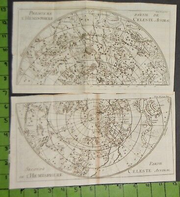 Antique 1743 Astronomy Celestial Map lot of 2