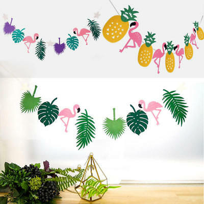 Tropical Hawaii Cocunut Leaves Flamingo Garland Bunting Banner Props Decorations
