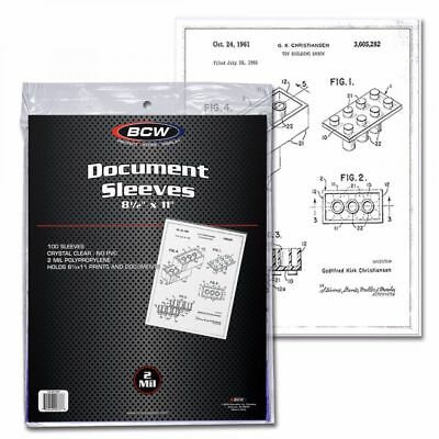 300 BCW 8 5X11 Document Soft Poly Sleeves Acid Free Print Holder Archival