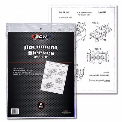 1 Case (1000) BCW 8.5x11 Document Soft Poly Sleeves Acid Free Archival