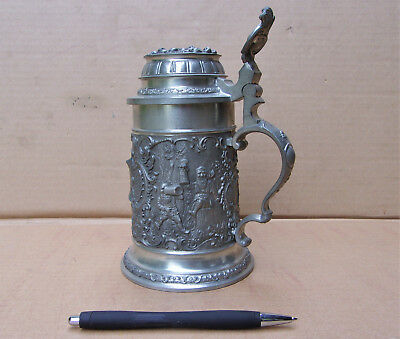 Beautiful Solid Pewter German Beer Stein, J. Dietsch, Embossed Dwarfs Monks
