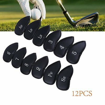 12PCS Thick PU Leather Head Covers Golf Iron Club Putter Headcovers Set Black
