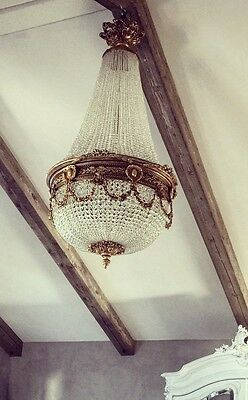 Stunning, French, Crystal, Brass, Empire Antique, Vintage Chandelier