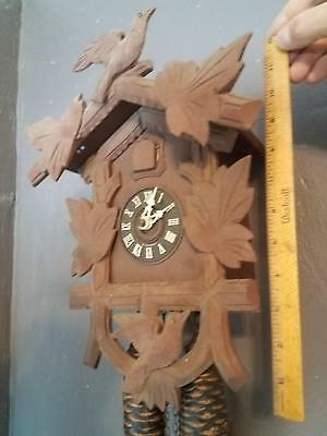 "Nice Vintage Medium Hubert Herr Black Forest Germany Cuckoo Clock 14"" WORKS"