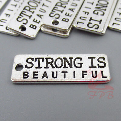 Strong Is Beautiful 27mm Wholesale Antiqued Silver Plated Charms - 2/4/8PCs