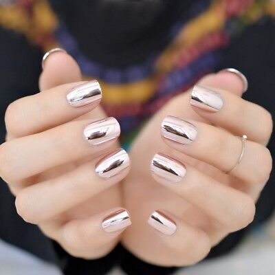 Pink Mirror Pre-designed Fake Nail Tip Short Metallic Nail  Manicure Accessories