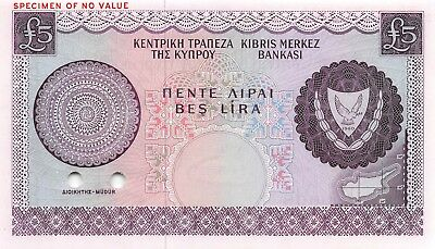 Cyprus  5  Pounds   P 44s ct.  Specimen color trial  Rare  Uncirculated Banknote