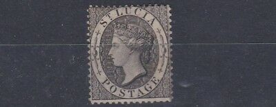 St Lucia  1876    S G  15   1D  Black   Unused No Gum  Staining To Back