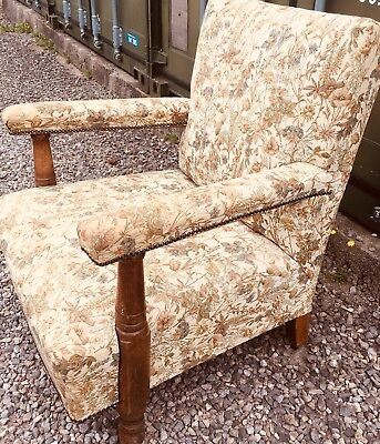 Solid Edwardian Large Open Armchair In Oak Tapestry Fabric CAN DELIVER