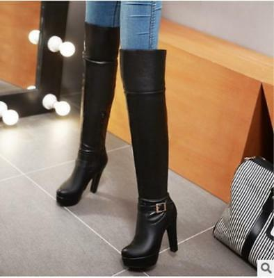 590dafe3b9a Women s Buckle Pu Leather Platform Block Heel Over The Knee High Black  Boots New