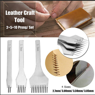 DIY 2/5/10 Prong Leather Craft Tools Hole Chisel Graving Stitching Punch Tool