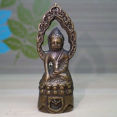 Phra Kring Statue Buddha Medicine Thai Amulet Old Wealth Lucky Rare Figure 54 mm