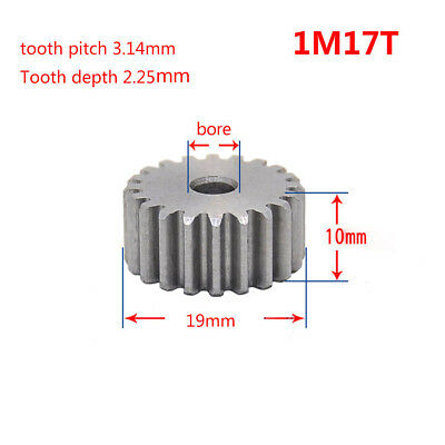 1M17T Spur Gear 45# Steel Motor Gear Thickness 10mm Tooth Outer Dia 19mm x 1Pcs
