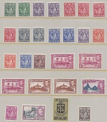 St Lucia  1938 - 48  S G 128 - 141  Set + Extras  Mh & Mnh