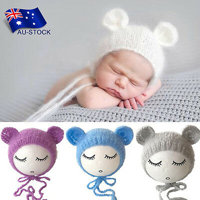 Newborn Baby Photo Props Outfits Knitting Crochet Mohair Hat Beanie Photography
