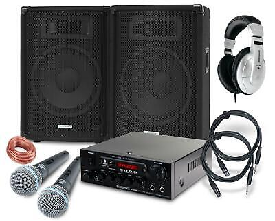 Set Karaoke Dj Pa Hautparleur Amplificateur Bluetooth Microphone Casques 800W