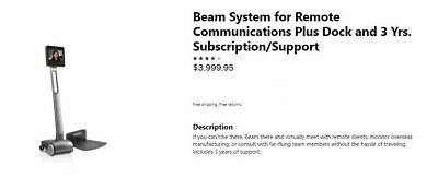 Beam System for Remote Communications Plus Dock and 3 Yrs. Subscription/Support