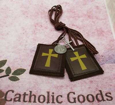 2 1/4 inch - Crusader - Brown Scapular -  NEW