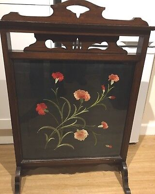 Antique Mahogany Fire Screen Beautiful Hand Embroidered Silk Picture CAN DELIVER